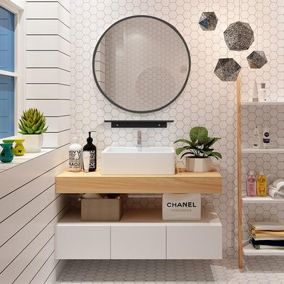 北欧实木浴室柜组合卫生间洗漱台厕所洗手盆洗脸池卫浴面盆挂墙柜
