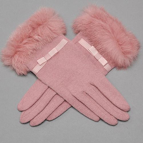 女生时尚PU皮革手套冬季骑行驾驶加厚加绒保暖防风水触屏真兔