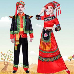 女壮族舞蹈演出服儿童壮族服饰广西三月三节日服装少数民族表演服