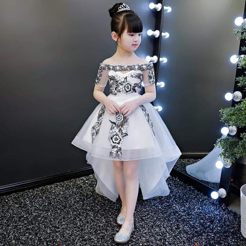 女童钢琴演出服走秀儿童婚纱蓬蓬纱主持人拖尾生日公主裙晚礼服夏
