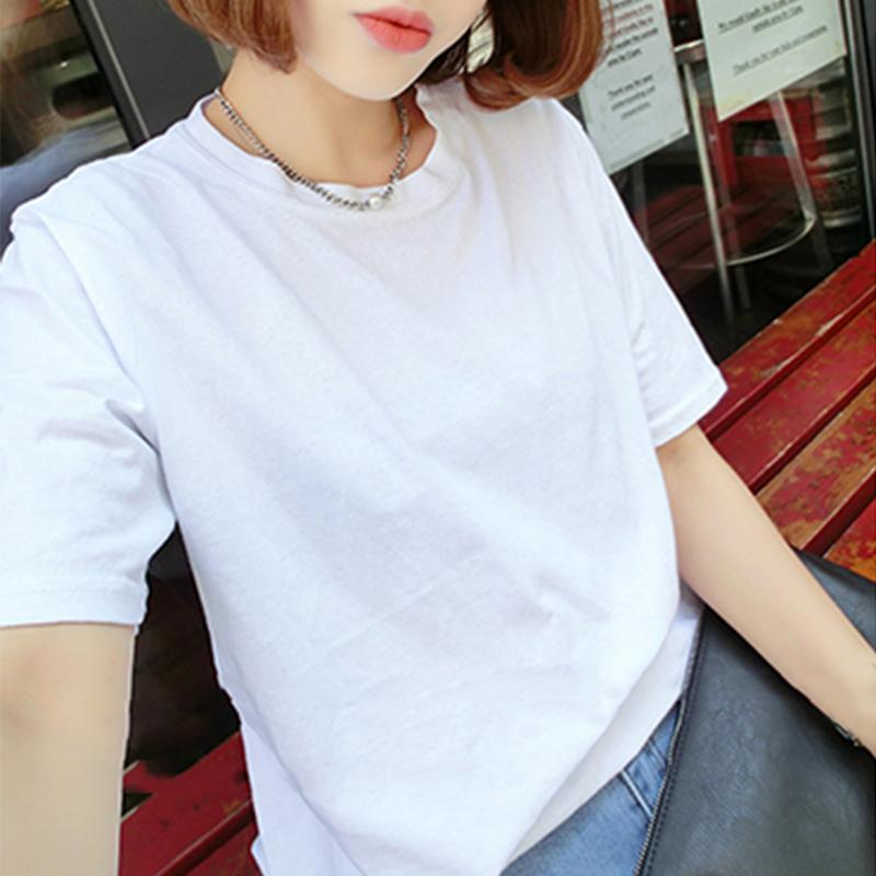 夏装白色T恤女短袖宽松学生韩版体恤学院风纯棉半袖上衣2019新款
