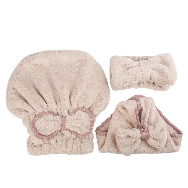 女士洗脸干发帽女吸水浴帽包头巾束发带毛巾宽发箍速干浴室三件套