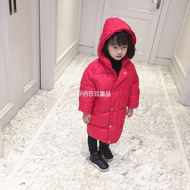 上新2017冬款童装棉服男女宝宝中小童长款连帽加厚防风保暖棉衣面