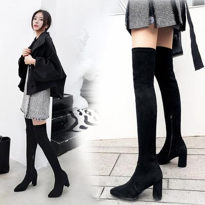 2018秋冬新款显瘦过膝长靴瘦腿弹力靴女黑色尖头粗跟高跟高筒长筒