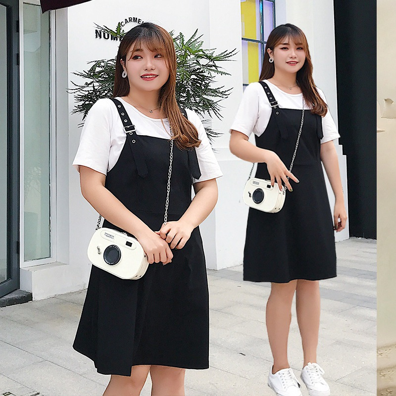 2019夏装流行裙子大码女装遮肚减龄胖妹妹显瘦背带连衣裙洋气韩版
