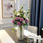 仿真玫瑰花单支粉色假花带花瓶摆件紫色绢花花墙红色餐桌装饰花