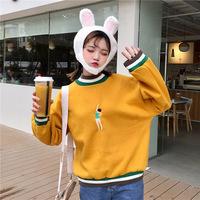 加厚加绒ins超火卫衣女秋冬2018新款韩版学生宽松嘻哈长袖外套女