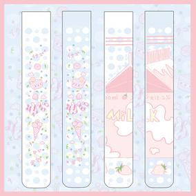 七了个三少女软妹甜系印花过膝袜可爱草莓牛奶蛋糕甜品卡通长筒袜