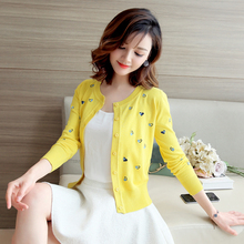 New embroidery, love knitted cardigan, women's round collar, short style, 100 sets of jacket, air conditioning jacket, spring and Autumn