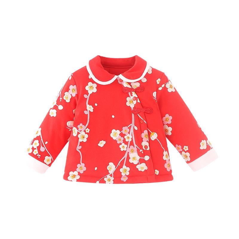 宝然宝宝新年衣服女喜庆红色周岁礼服拍照衣服上衣婴儿唐装3633