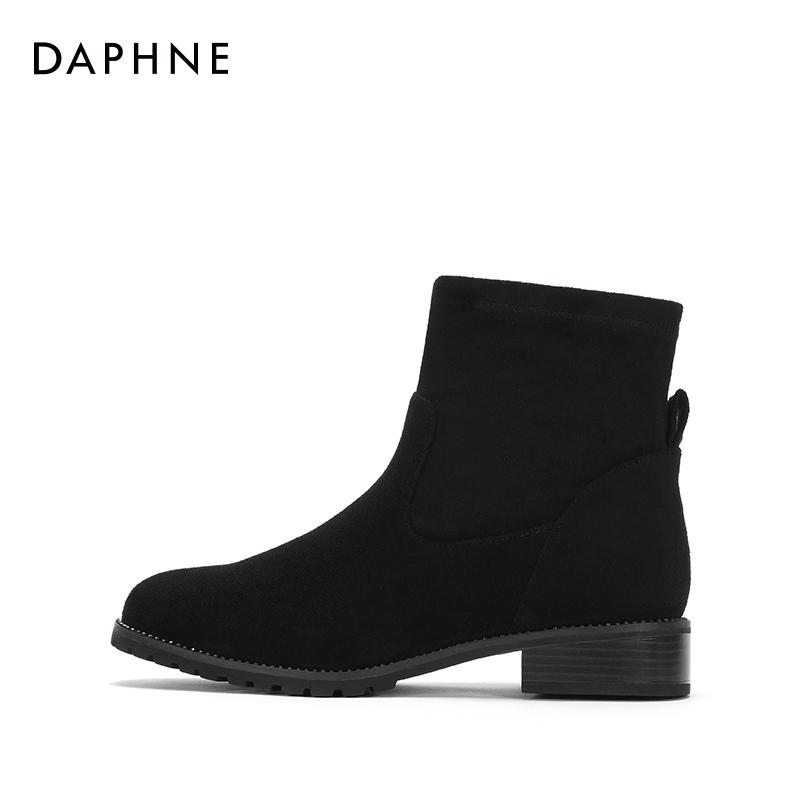 冬季新款潮流女靴平跟圆头通勤气质加绒短靴 2017 达芙妮 Daphne