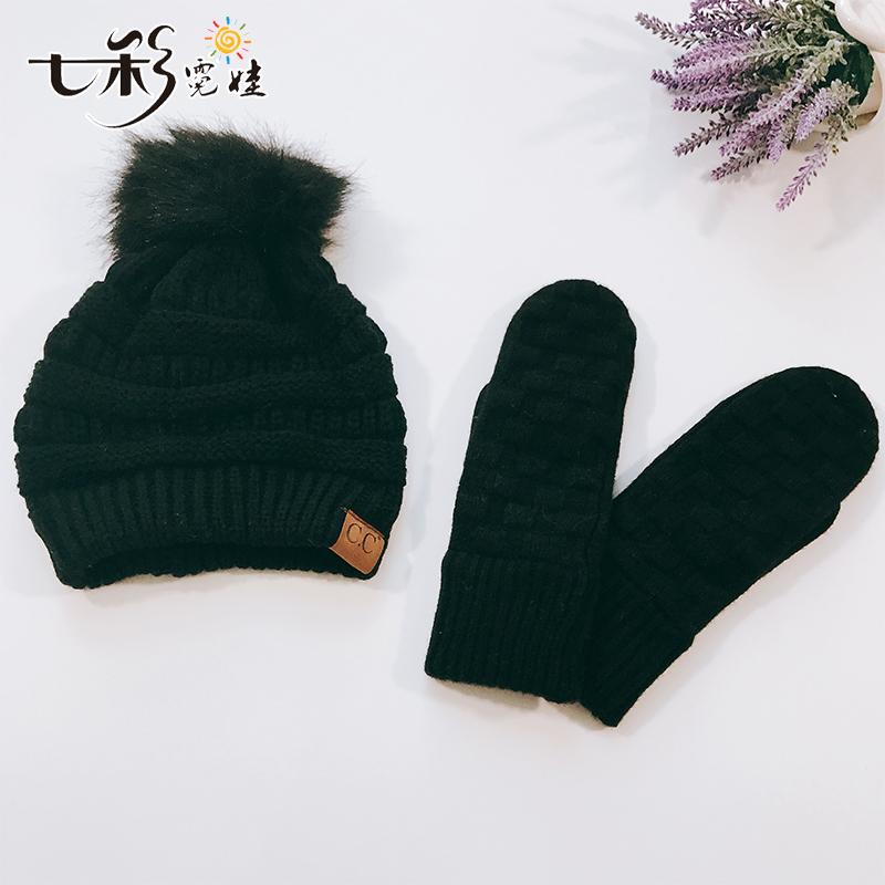 宝宝帽子秋冬季中大儿童男女孩针织毛线帽2-12岁保暖帽子手套潮