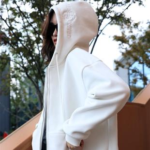 金丝绒宽松版显瘦开衫 外套 白色双面绒卫衣女加绒加厚2019秋冬新款