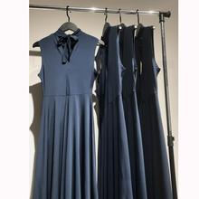 18062538 识体店 欧美 优雅气质立领挂脖系带高腰显瘦无袖连衣裙