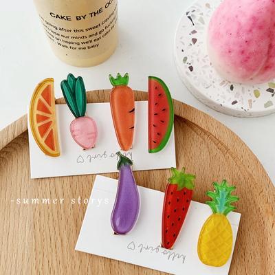 韩国ins可爱甜美夏日蔬果西瓜菠萝草莓亚克力鸭嘴夹碎发夹边夹女