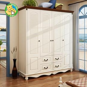 地中海儿童衣柜实木美式乡村百叶门木质衣橱田园卧室柜子家具4门