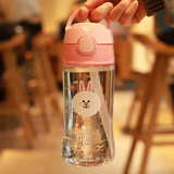 Thermos authentic children's plastic straw cups baby portable leak-proof drinking water bottle with scales handles