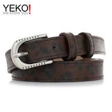 YEKO 新款简约豹纹腰带金属针扣打孔时尚女士皮带牛仔裤学生通用