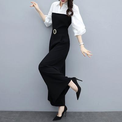 2019春季新款高腰雪纺修身长裤显瘦连衣裤黑气质阔腿连体裤套装女