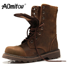 Martin Boots Men's Summer and Spring Help Boots Snowfield High Help Workwear Cowboy Men's Leather Boots Locomotive Shoes Retro-vintage
