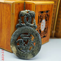 Antique antique old jade old jade jade high ancient jade pendant pendant hand piece Shuangfeng jade brand Shuangfeng