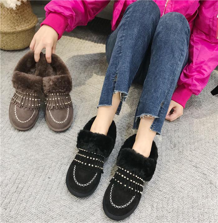 磨砂鉚釘流蘇平底鞋