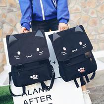 书包女可爱猫咪印花中小学生双肩包学院风子母背包旅行包买一送一
