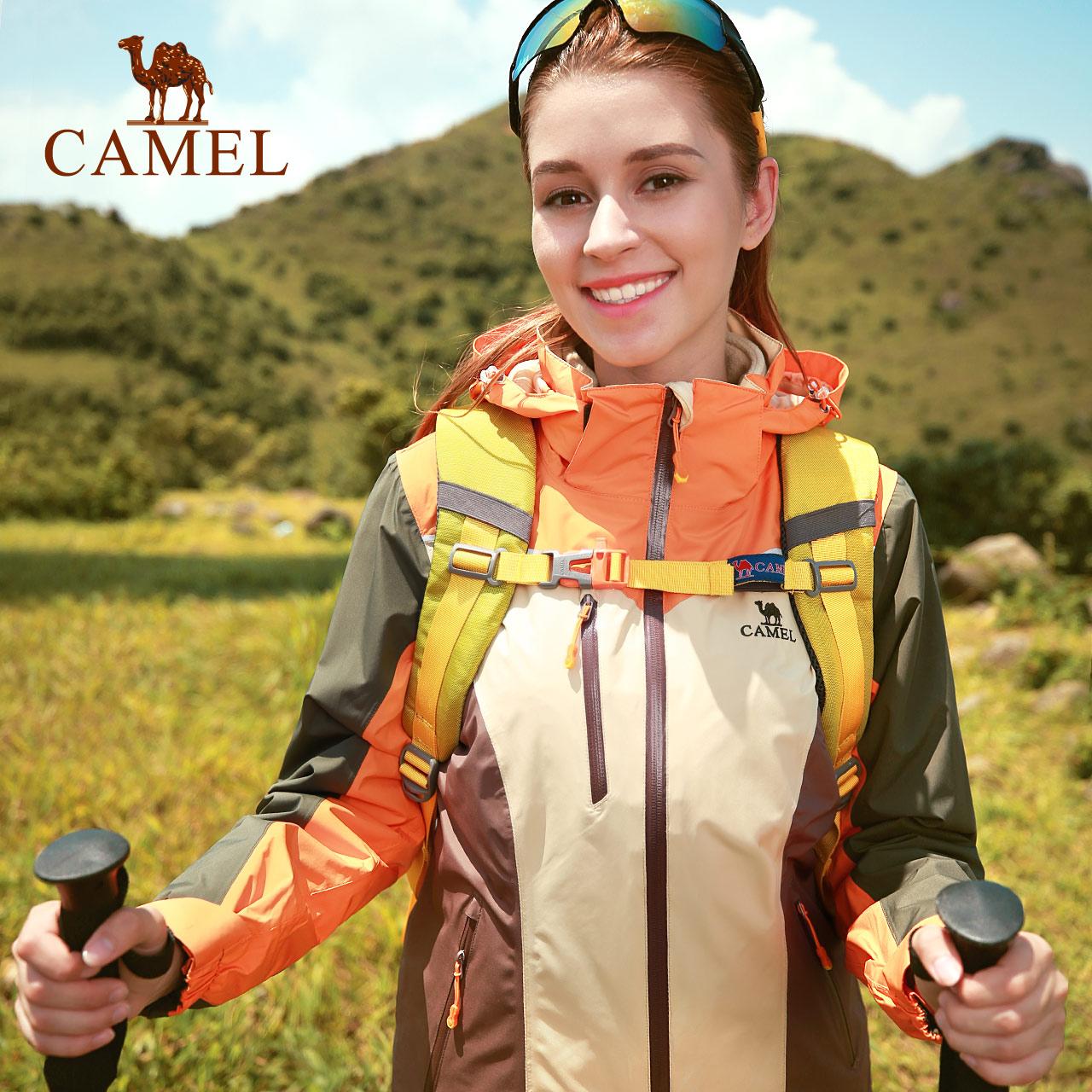 骆驼户外冲锋衣女 潮牌东丽面料保暖防雨防风加绒登山服女三合一