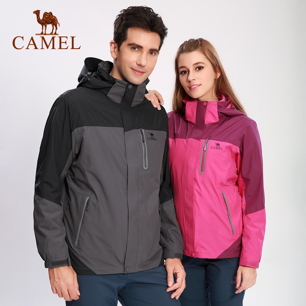 骆驼户外冲锋衣男女加绒加厚东丽面料 三合一两件套防雨登山服女