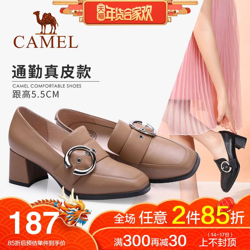 骆驼真皮高跟鞋粗跟2018秋季新款黑色皮鞋女工作鞋休闲舒适妈妈鞋