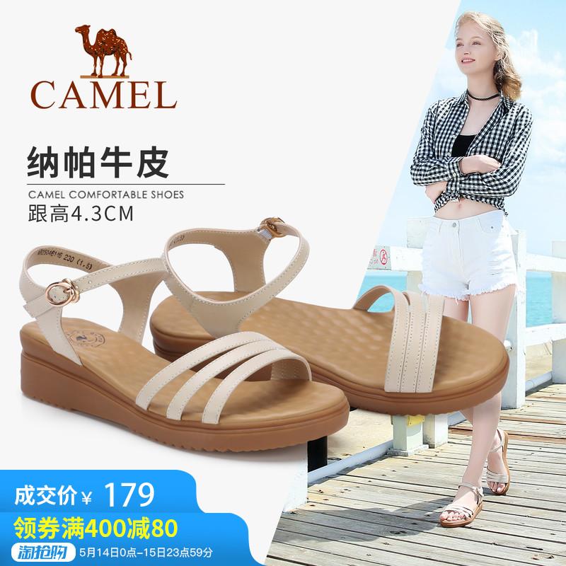 骆驼女鞋凉鞋坡跟