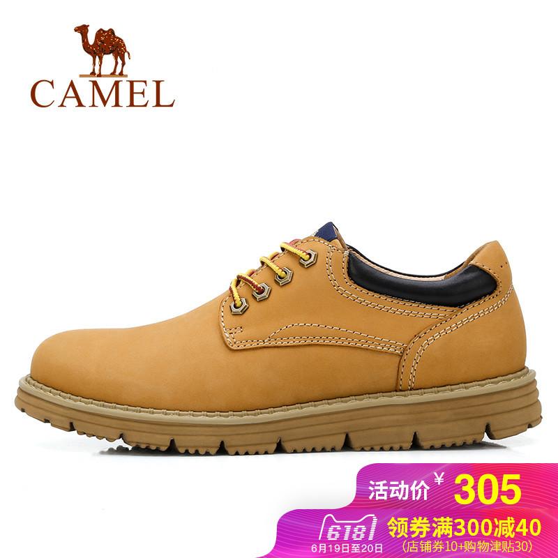 骆驼户外运动男鞋日常休闲低帮系带牛皮男工装鞋户外男鞋子大黄鞋