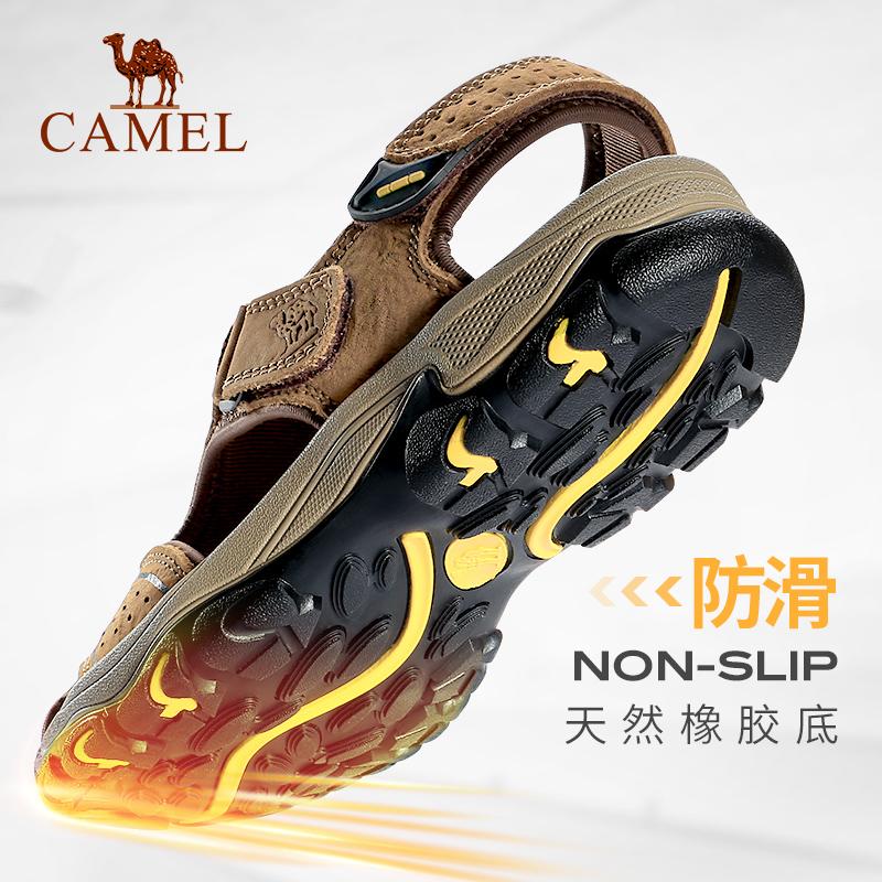 骆驼男凉鞋 2019夏季男士休闲户外沙滩鞋 真皮魔术贴牛皮包头凉鞋
