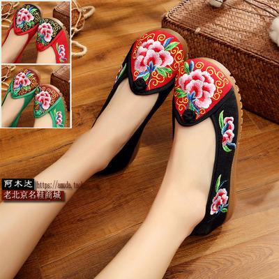 包邮老北京布鞋民族风绣花鞋子复古女鞋单鞋平底凉拖鞋中式女鞋