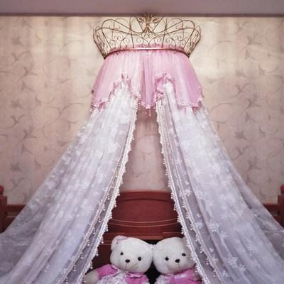 床幔纱ins北欧新款宫廷小清新少女心粉嫩公主蕾丝床帘装饰纱 含架