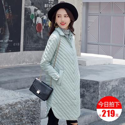 2018正品冬装新款潮立领轻薄中长款羽绒服女修身外套反季清仓特价