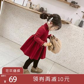 小布丁baby童装女童冬装洋气红色毛衣连衣裙公主儿童秋冬新年裙子