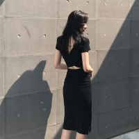 2018新款性感女装早秋冬chic露背黑色夜场修身显瘦长袖连衣裙子夏