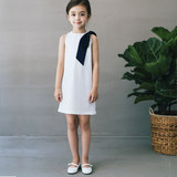 Girls British Wind Dresses Summer 2019 High-end white collar Sleeveless Style Sleeveless Princess Skirt