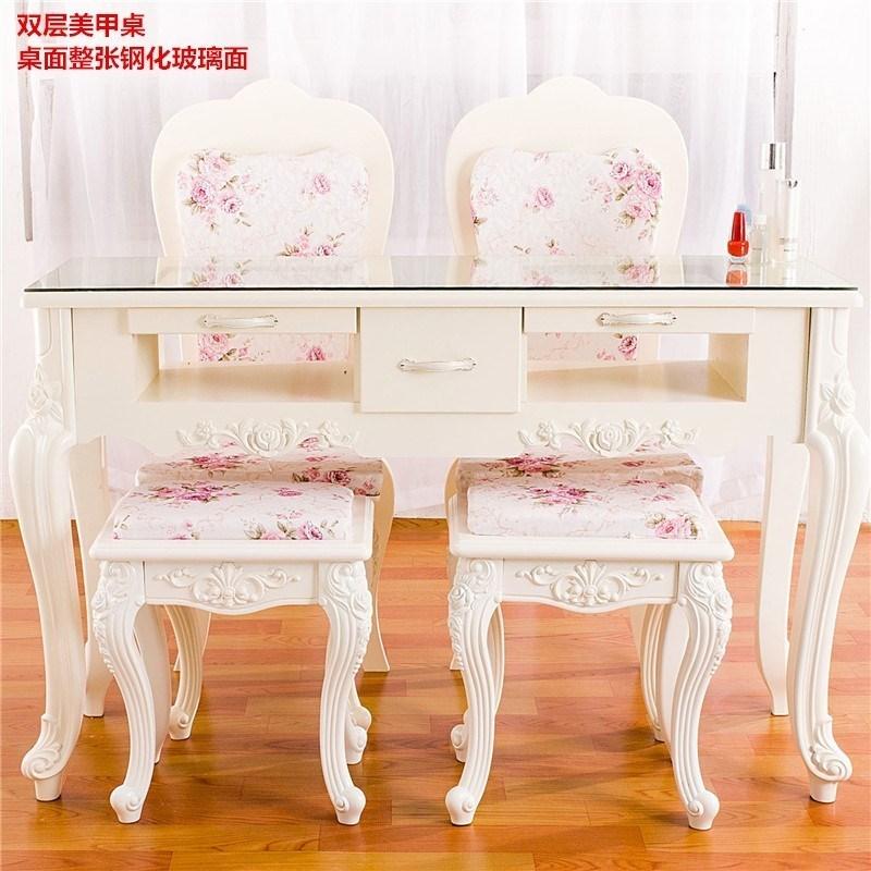 欧式美甲桌子单人双人三人指甲桌修甲台白色烤漆桌椅套装