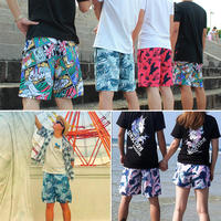 Beach pants men loose quick-drying five pants large size flower pants 衩 Thailand seaside holiday hot spring bathing suits couple shorts