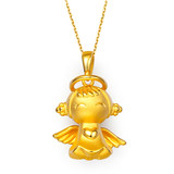 3D hard gold gold 999 gold pendant female models 24K gold gold necklace pendant solid Fuxing angel baby
