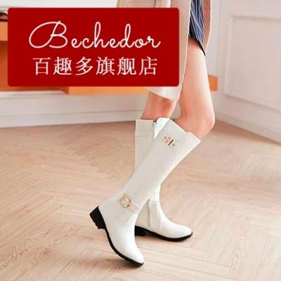 BECHEDOR新品女生白色长靴子春秋韩版舞蹈软皮侧拉链平底高筒单靴