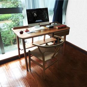 无印风格小户型环保纯全实木电脑学习桌子带书架北欧日式简约书桌