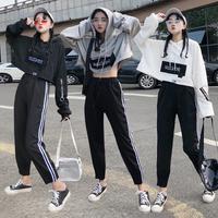 原宿风短款韩版爵士舞休闲服装女套装成人现代舞练功服街舞蹈服装