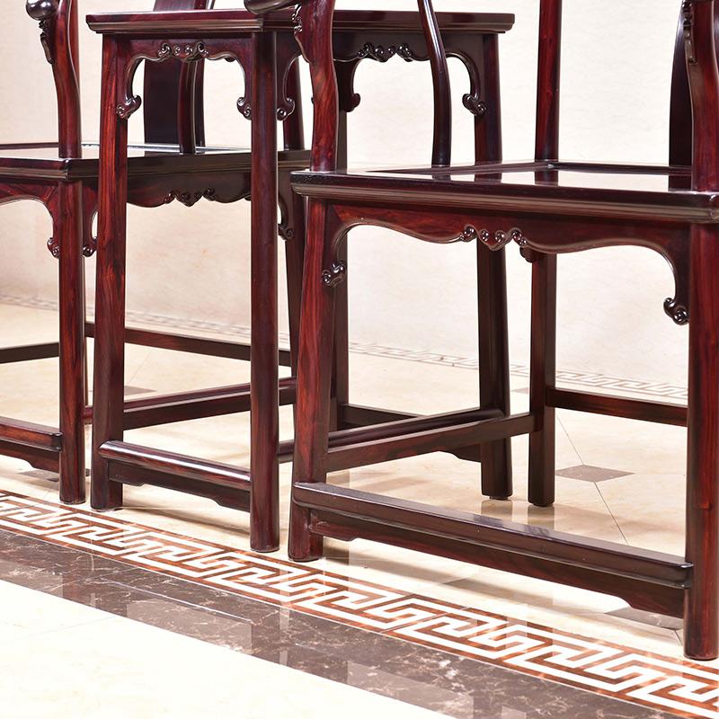 老挝大红酸枝明式圈椅三件套交趾黄檀休闲椅太师椅围椅 红木家具