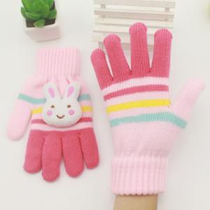 儿童手套冬保暖五指加绒可爱卡通宝宝男童女童小学生毛线针织分指