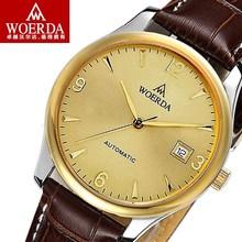包邮沃尔达男士手表 全自动机械表男表 皮带手表防水背透超薄手表