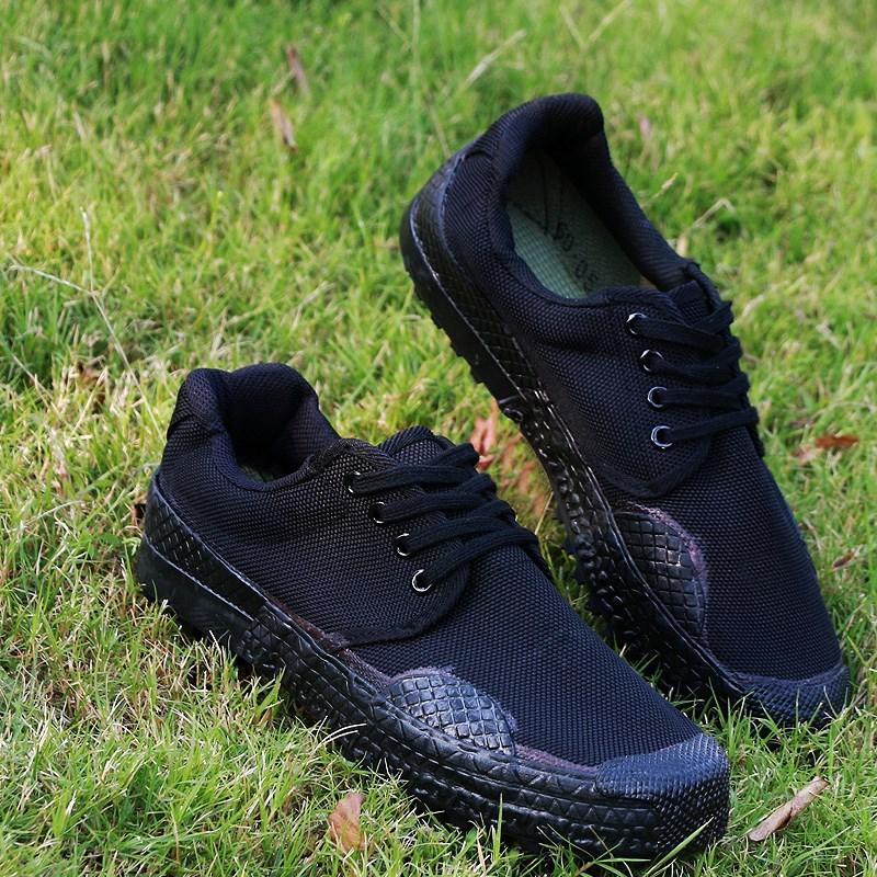 黑色低帮户外军训鞋07作训鞋男女解放鞋迷彩鞋帆布胶鞋军鞋帆布鞋