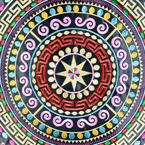 Guangxi Zhuang Copper drum pattern embroidery piece diy characteristic national bag clothing jewelry embroidery Noodle fabric